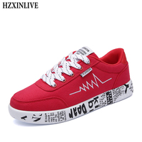 HZXINLIVE 2018 Fashion Women Vulcanized Shoes Sneakers Ladies Lace Up Casual Shoes Breathable Walking Canvas Shoes