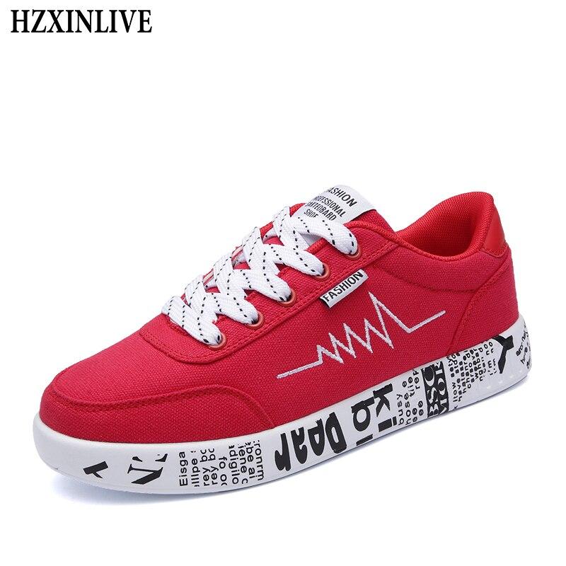 HZXINLIVE 2019 mode femmes chaussures vulcanisées baskets dames à lacets chaussures décontractées respirant marche toile chaussures Graffiti plat