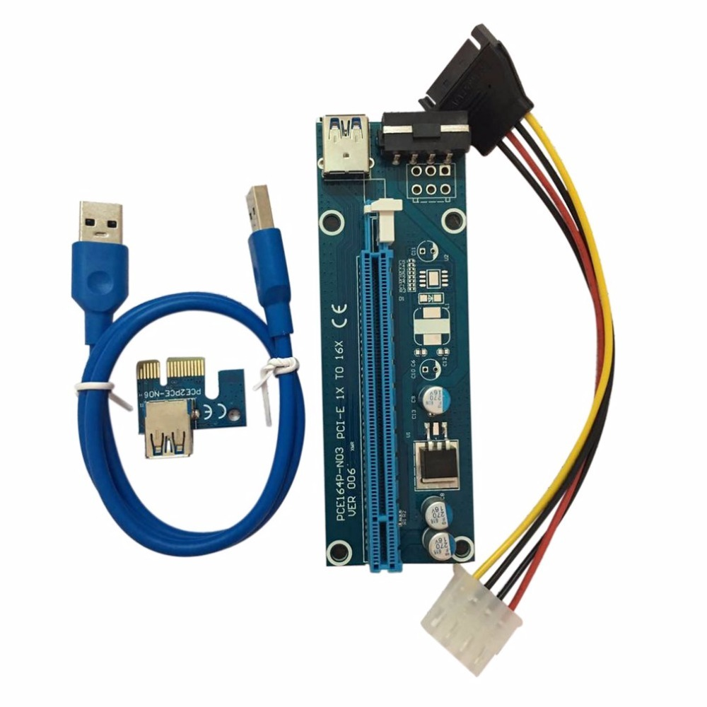 PCI-E PCI Express Riser Card 1x to 16x USB 3.0 Data Cable SATA to 4Pin IDE Molex Power Cord Supply for BTC Miner Machine Hot