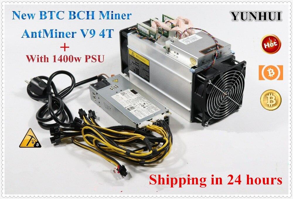 YUNHUI Asic Miner BITMAIN Antminer V9 4TH/s (with PSU) Bitcoin BCH BTC Miner V9 Better Than AntMiner S9 T9+ S9i WhatsMiner M3 E9 1