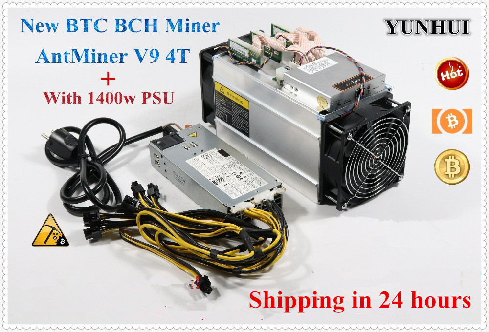 YUNHUI Asic mineur BITMAIN Antminer V9 4TH/s (avec PSU) Bitcoin BCH BTC Miner V9 mieux que AntMiner S9 T9 + S9i what sminer M3 E9