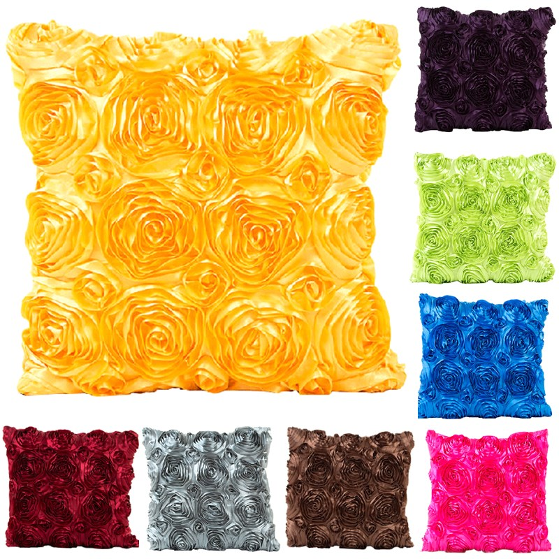 1Pcs 40*40cm Rose Flower Pattern Throw Pillow Cushion Cover Home Decoration Sofa Bed Decor Decorative Pillowcase 40453