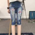 A1040 new Blue Pure Elastic Waist cotton casual Knee Length ripped jeans in women's  destroyed jeans for woman