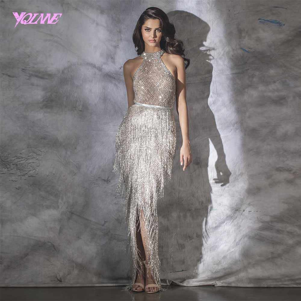 YQLNNE 2019 Luxury Halter Rhinestones Evening Dress Pageant Gown Sleeveless Mermaid Slit Robe de Soiree