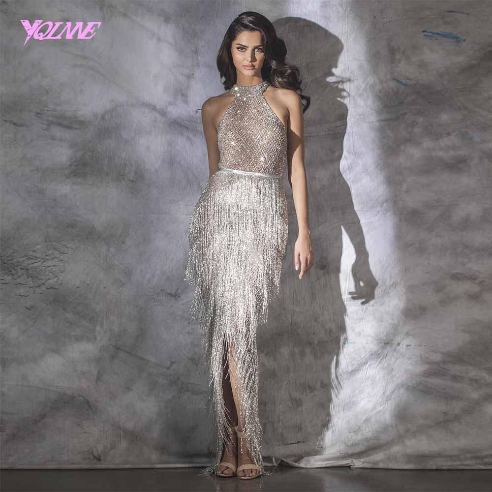 YQLNNE 2019 Luxo Halter Pedrinhas Evening Vestido Pageant Vestido Sem Mangas Sereia Slit Robe de Soiree