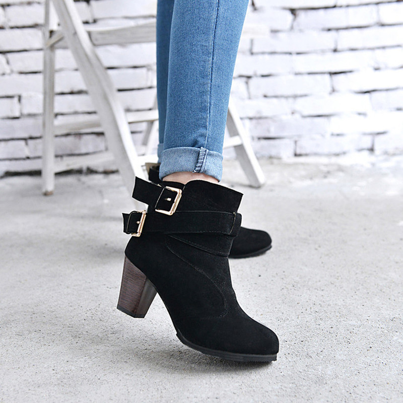 Women High Heel Short Ankle Boots Winter Martin Snow Boots Fashion ...
