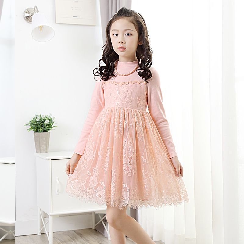 free Shipping 3-13Y New Autumn Winter Girls dress Girl Lace Kids flower dress long sleeve party princess dresses Fashion girls summer dress 2017 fashion long sleeved lace dress girl princess dress free shipping