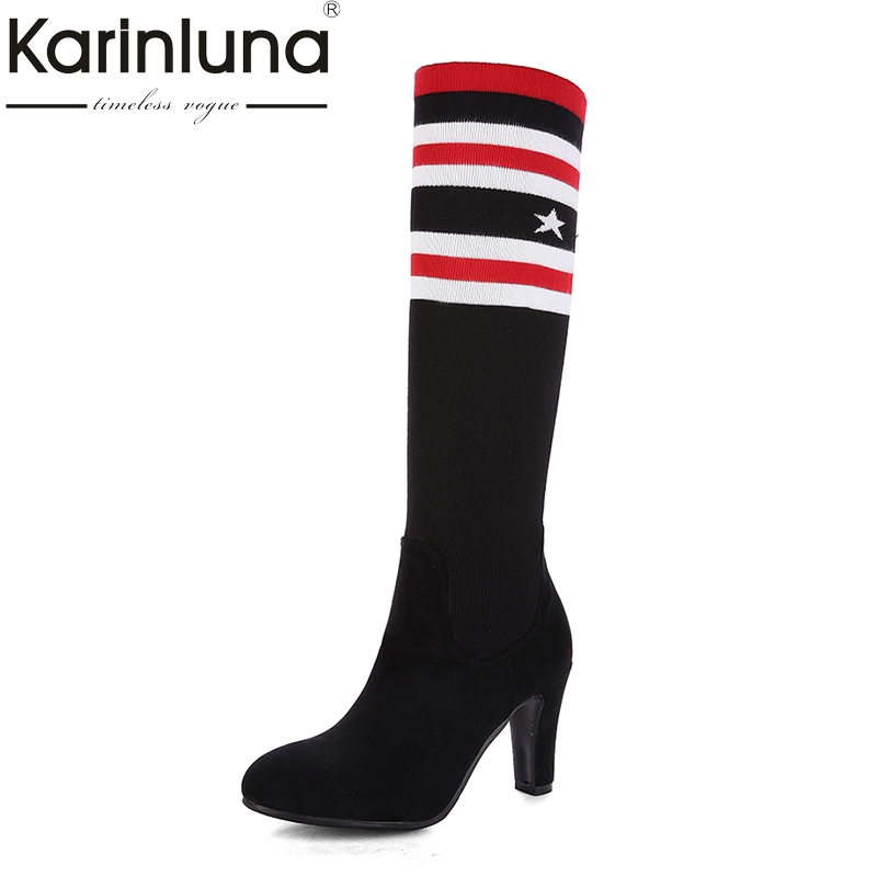 KARINLUNA Brand New Plus Size 34-43 Elastic Women Shoes Woman Fashion High Heels Winter Knee High Boots Lady Black Add Fur brand new fashion black yellow women knee high cowboy motorcycle boots ladies shoes high heels a 16 zip plus big size 32 43 10