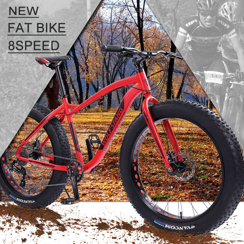 wolf s fang Bicycle Mountain Bike Road Fat bike bikes Speed 26 inch 8 speed bicycles wolf's fang Bicycle Mountain Bike Road Fat bike bikes Speed 26 inch 8 speed bicycles Man Aluminum alloy frame Free shipping