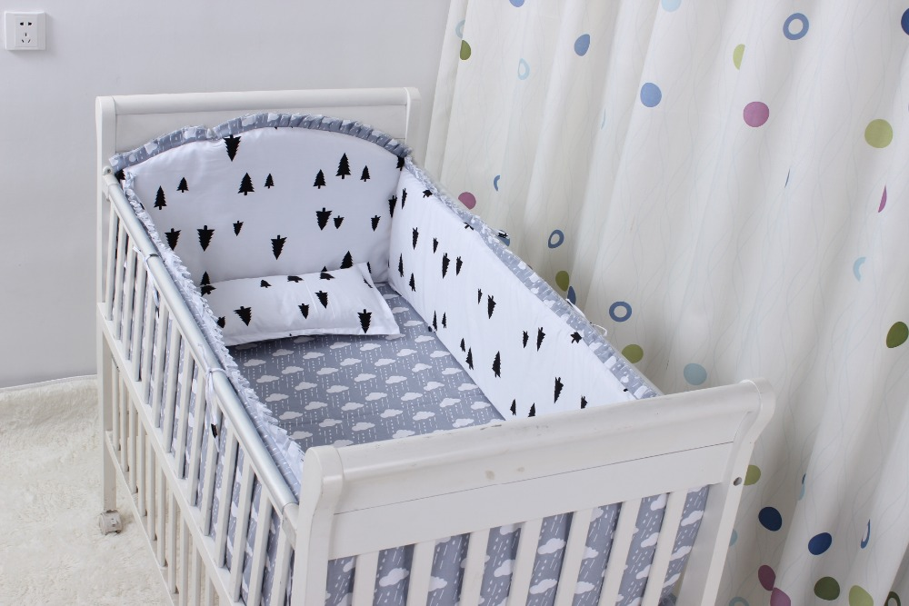 Promotion! 6pcs Bed Set For Children Boys&Girls, Crib Set For Infant, Hot Sale Free Shipping,include(bumpers+sheet+pillow cover)