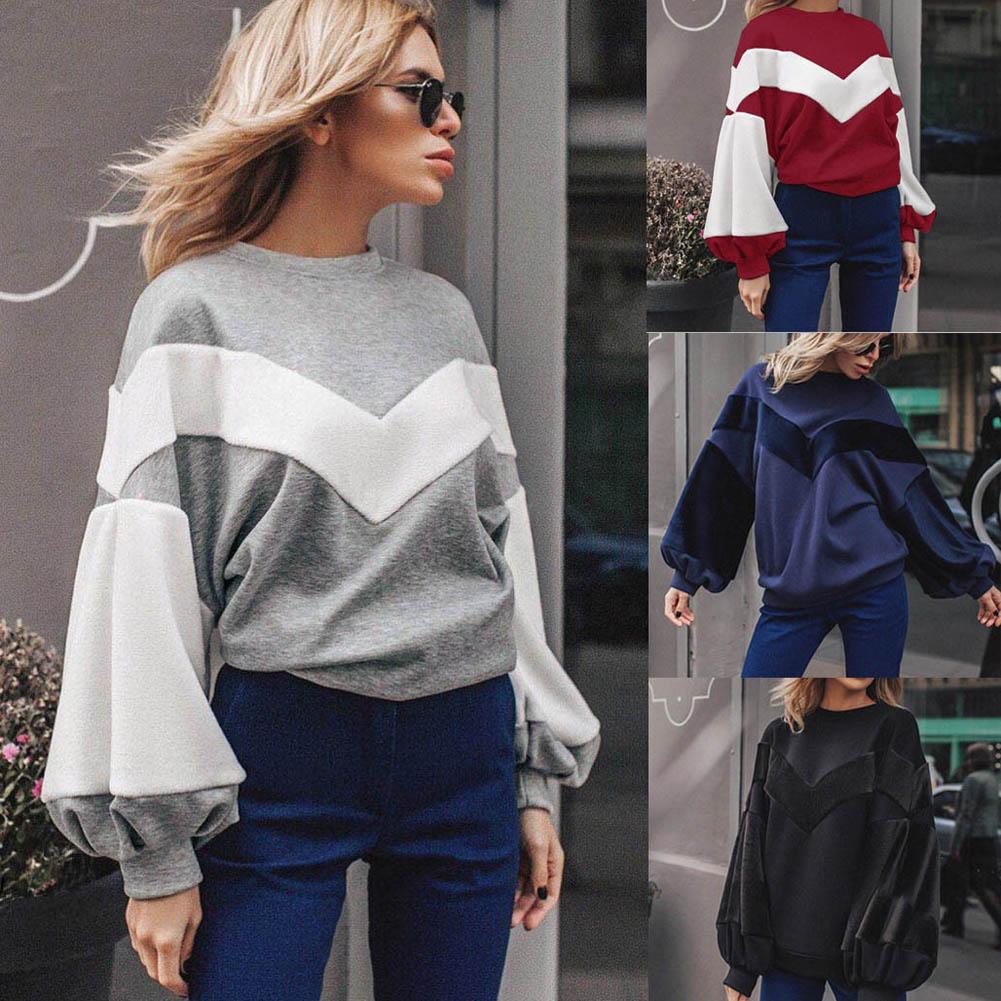 Casual Women Long Wide Sleeve Sweatshirt Loose O-neck Autumn Winter Tops FS99
