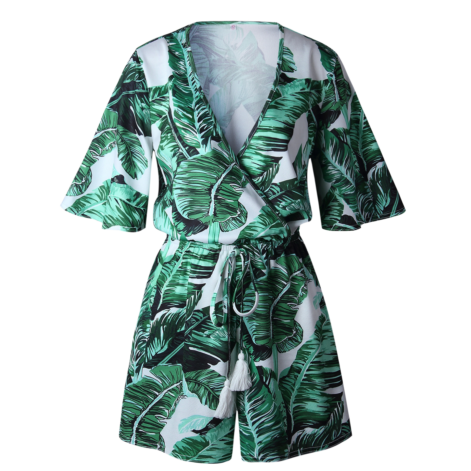 2019 Deep V Neck Summer Bodysuits Women Green Leaves Print Beach Playsuit Female Short Overalls Jumpsuit Casual Boho Bodysuit in Rompers from Women 39 s Clothing