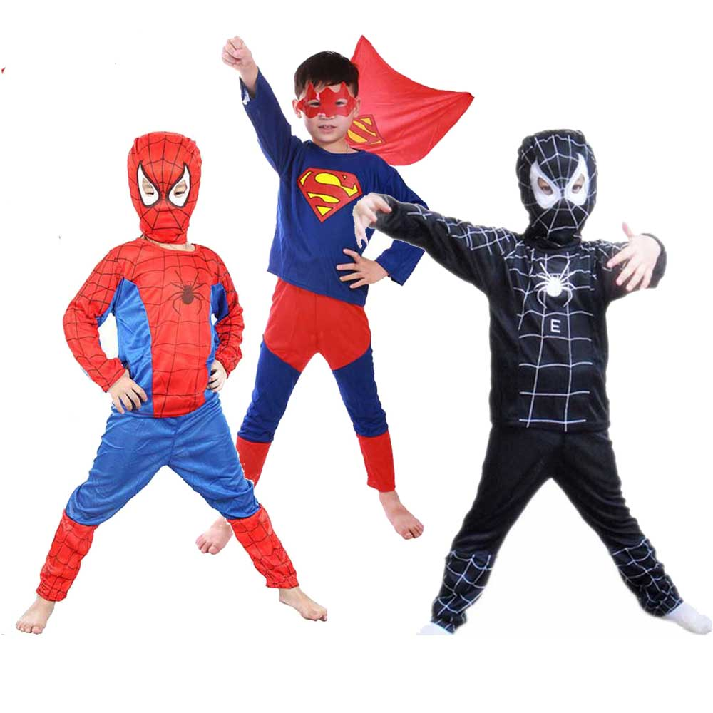Kids Spiderman Super Hero Cosplay Childrens Long Sleeve Halloween Party Costume Spider Man Homecoming Clothes With Mask