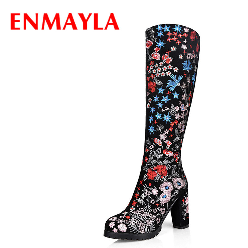 ENMAYLA Women Winter Shoes High Heels Knee High Boots  Black Suede Women Chunky Heels Colorful Floral Long Boots enmayla winter autumn high heels lace up knee high boots women shoes sewing green brown black knigh long boots