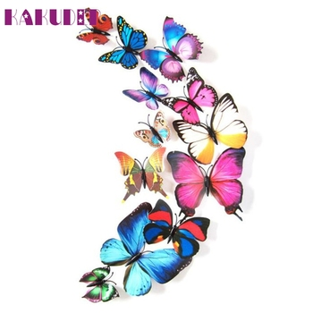 12pcs 3D Butterfly Wall Stickers magnet Colorful Different sizes 1 set Home Decorations Levert Dropship 3AP21 rysunek kolorowy motyle
