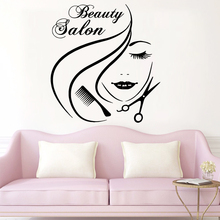 Delicate Beauty salon Wall Art Decal Decor Fashion Sticker For Hair Salon Vinyl Mural Woman