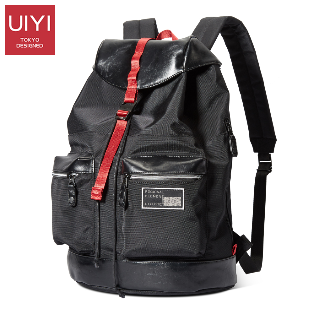 UIYI Backpack Men 's 14' Laptop Casual Shoulder Bag Black backpack for young people with polyester & PVC 2017 new #UYB7047 uiyi male pvc casual shoulder bag black chest bag for men shoulder