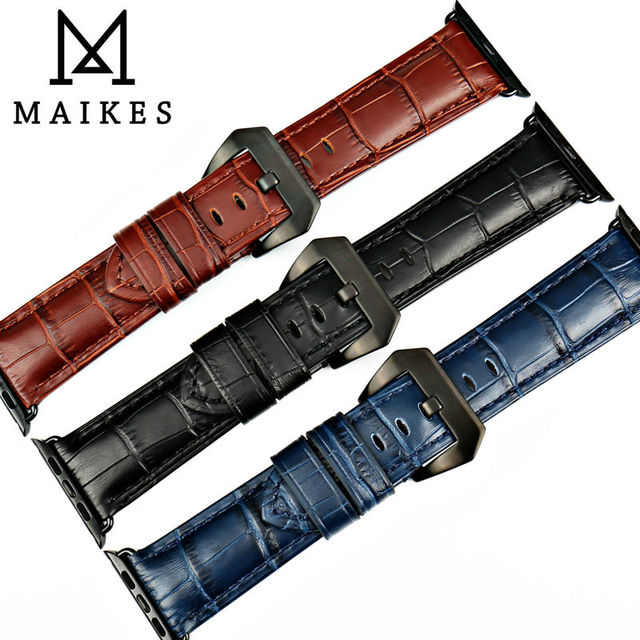 MAIKES watchbands genuine cow leather watch strap for Apple Watch Band 42mm 38mm series 4-1 iwatch 4 44mm 40mm  watch bracelet 4