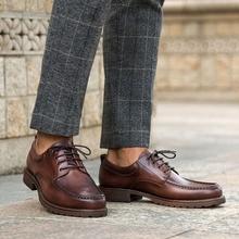 QYFCIOUFU New Fashion Men's Lace-Up Oxfords Dress Shoes Mens Genuine Leather Business Office Wedding Flats Man Vintage Shoes