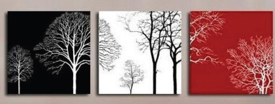 Hand Painted Oil Wall Art Red Black Forest Tree Home