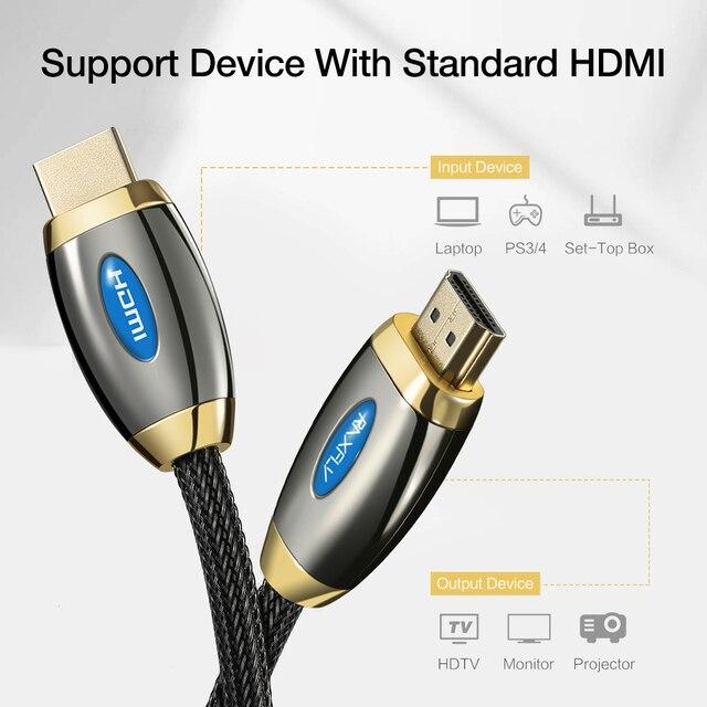 RAXFLY câble HDMI 2.0 câble HDMI, câble HDMI 4K 3D à câble HDMI pour ordinateur portable à projecteur LCD Durable 1M 3M 5M câbles HDMI