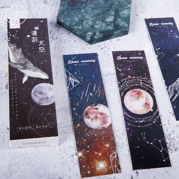 30 pcs/box Dream Space constellation paper bookmark stationery bookmarks book holder message card school supplies papelaria - discount item  22% OFF School Supplies