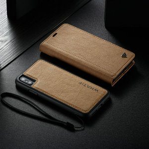 Image 5 - WHATIF Kraft Paper Leather Flip Cases for iPhone 6 s 7 8 plus 2 in 1 Detachable Case for iPhone 11 Pro X Xr Xs Max Wallet Case