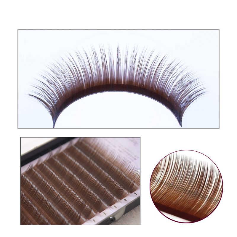 QSTY 0,07 B C pestañas postizas pestañas individuales extensión Color falso ojos pestañas de visón extensión 100% real marrón oscuro