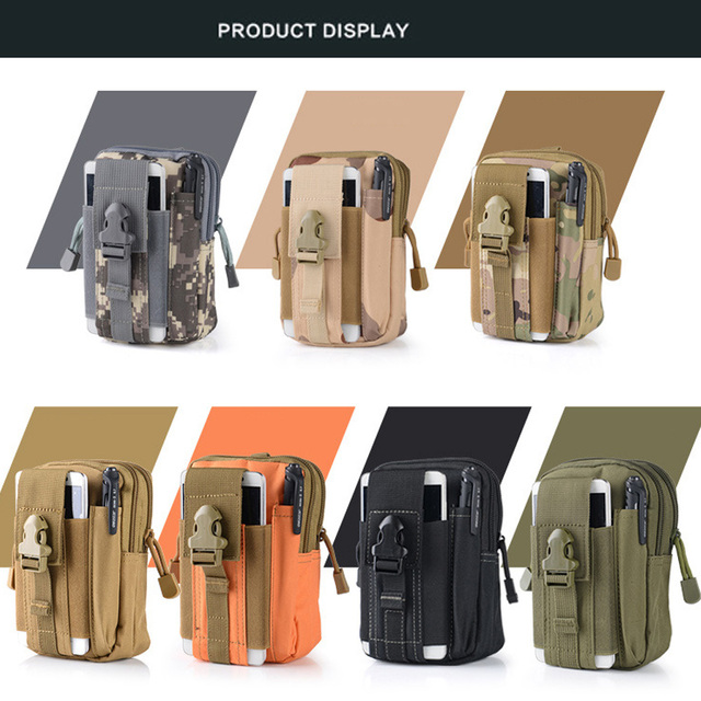 Outdoor Climbing mobile phone bags Military Tactical Waist phone bag Belt Pouch Holster Cover Case with Zipper for iphone X 8 7