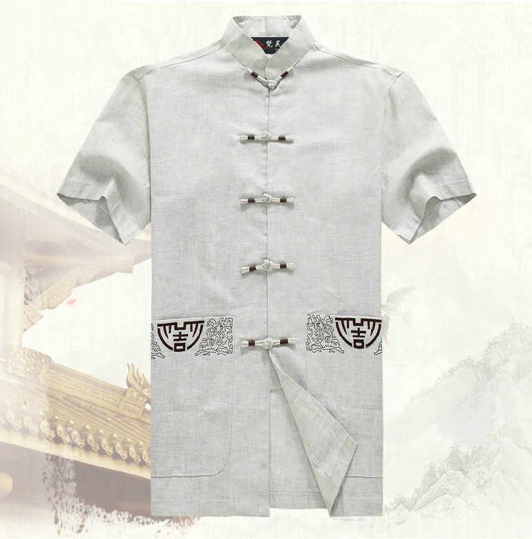ホット販売 Hombre のカミーサベージュ男性の綿シャツ今、夏カンフー半袖唐スーツ衣服サイズ SML XL XXL XXXL M0051