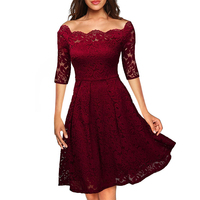 Oxiuly Womens Elegant Slash Neck Sexy Bride Special Occasion Ladies Casual Off Shoulder Party Evening Party Vintage Lace Dress