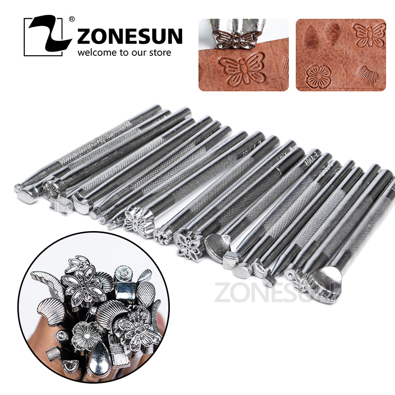 ZONESUN Wholesale 20Pcs Handmade DIY Cowhide Carving Printing Sewing Tools Leather Craft Metal Engrave Stamping Embossing Mold