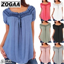 цена на ZOGAA 2019 New Women's Fashion Blouses Plus Size Loose V-neck Lace Patchwork Short Sleeve Blouse Tops Tees 6 Colors Lady Shirts