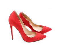 Woman red/orange shallow high heel shoes Pointed toe super high thin heel shoes for ladies 12cm Wedding shoes SIZE 36 42