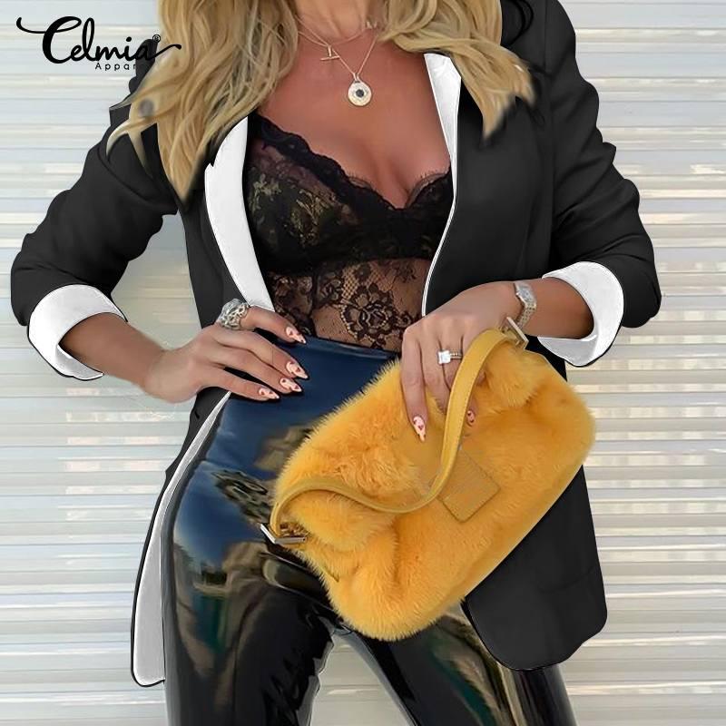 Women Blazers Celmia 2019 Autumn Long Sleeve Turn-down Collar Coat Ladies Business Suit Cardigan Jacket Suit Tops Plus Size 5XL
