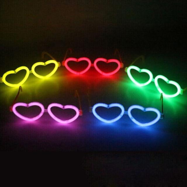 200set Luminous Stick Accessories Plastic Glasses Frame Heart Shape ...