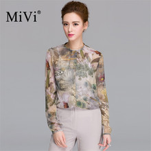 MIVI Brand Vintage Floral Blouses Women 100% Real Silkworm Silk Shirts Summer O-Neck Long Sleeve Shirt Office Lady Tops Clothe