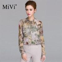 MIVI Brand Vintage Floral Blouses Women 100% Real Silkworm Silk Shirts Summer O Neck Long Sleeve Shirt Office Lady Tops Clothe
