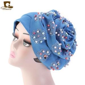 Image 3 - Fashion Women Luxury Muslim Hijab Beaded King Flower Turban Headwrap Chemo Turban Ladies Bandanas Hair Accessories