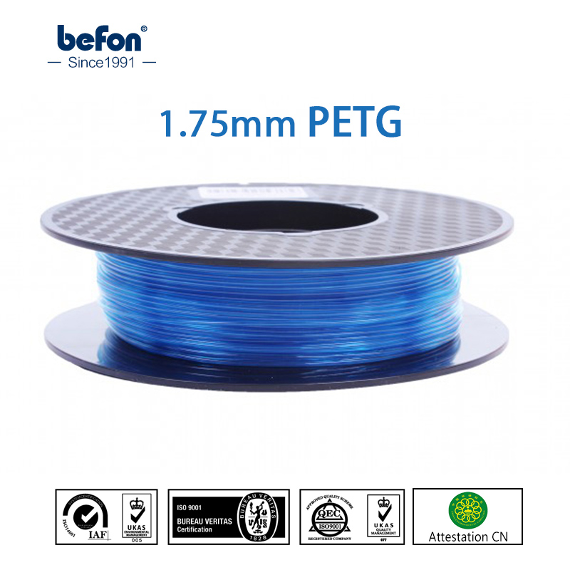 цены  New Transparent PETG Filament 3D Printer Filament 1.75mm 1kg 3D Printing Material for MakerBot RepRap Ultimaker Printer Blue
