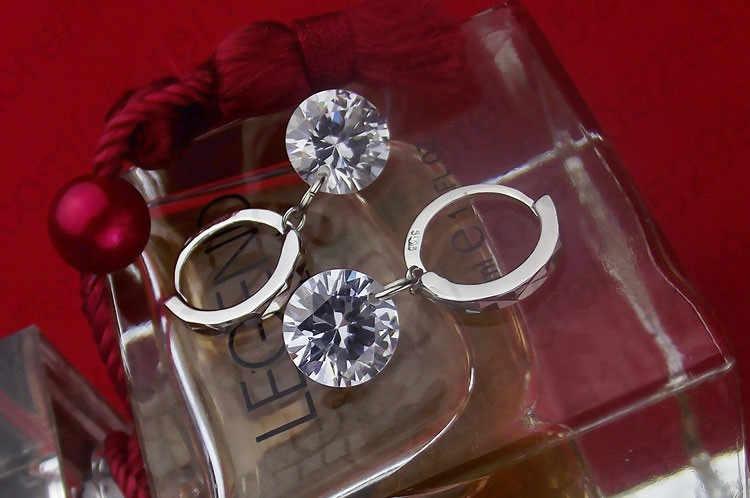8 kolorów opcja klasyczna dziewczyna kobiety prezent biżuteria 925 srebro i lśniące 5A cyrkonia Dangle kolczyki huggie