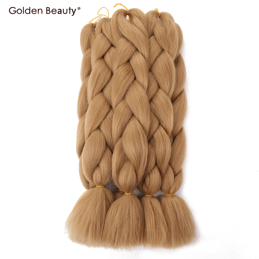 Hair Extensions & Wigs 24inch Crochet Braids Hair Extensions Synthetic Braiding Hair Colored Jumbo Twist Golden Beauty 100g Blonde Pink Purple Green Elegant Appearance