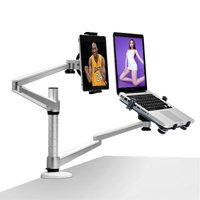 Desk Aluminum tablet laptop stand holder for 10 15 laptop & 7 10 Tablet mount Adjustable Rotable notebook dual arm stand table