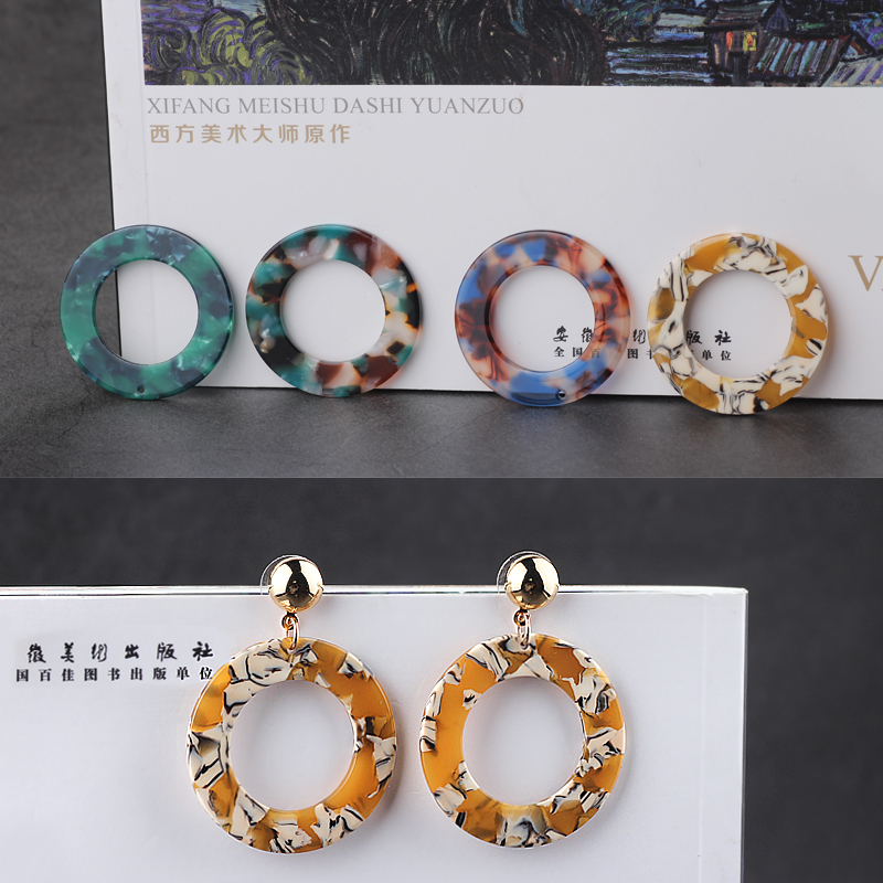 10pcs DIY Resin charm handmade jewelry accessories magic color single hole hollowed out Round Earrings material