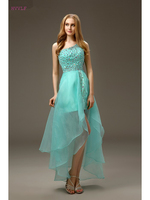 Turquoise 2018 Cocktail Dresses Elegant Sheath One shoulder Detachable Organza Crystals Party Plus Size Homecoming Dresses