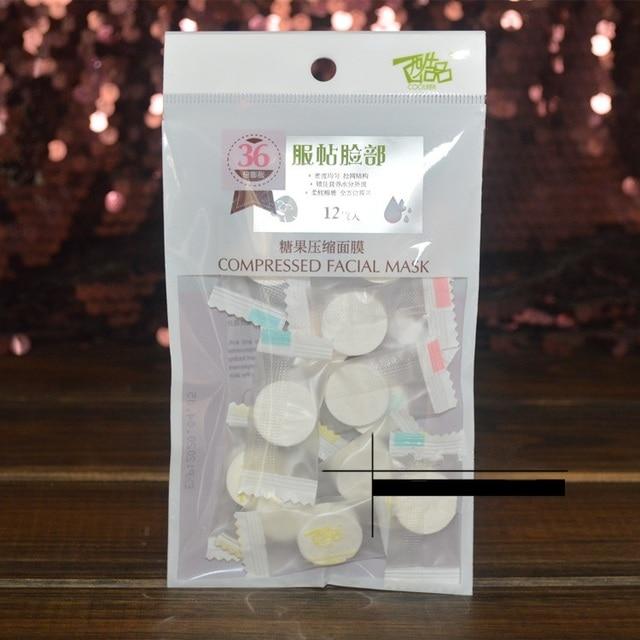 12 pz/borsa Carino Candy Compresso Maschera Facciale Cotone Maschera FAI DA TE Semplice Pulito Sano Umida Sbiancamento Idra attrezzo di Bellezza C058