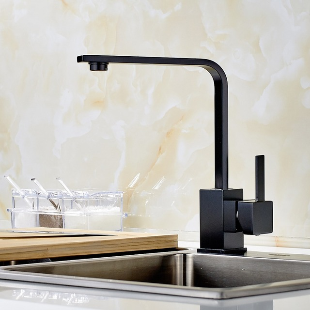 Beautiful Modern Square Swivel Sink Mixer Kitchen Faucet Hot And Cold Water Taps For  Sink Of Kitchen