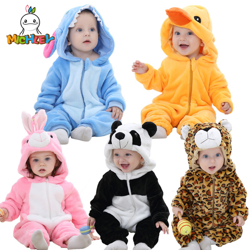 MICHLEY <font><b>Baby</b></font> Rompers Newborn Boys <font><b>Clothes</b></font> High Quality Winter Hooded Clothing Girls Autumn Jumpsuits XYZ-1 Pajamas <font><b>Baby</b></font> Overalls image