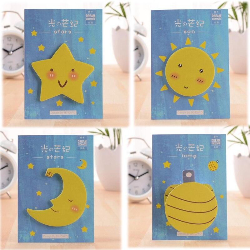 Kawaii stars Sun Moon Lamp DIY Memo pad Cute Decoration Self-Adhesive sticker Post it note Chancery stationery papeleria 01909