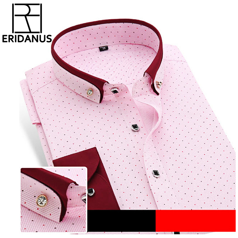 New Brand Men's Polka Dot Shirts Casual Office Shirt Slim Fi